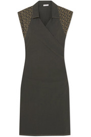 Tomas Maier Embroidered cotton-blend poplin wrap dress