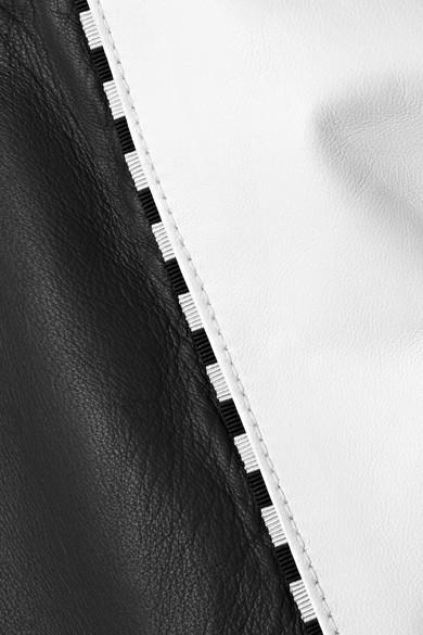 Tomas Maier Zweifarbige Bomberjacke aus Leder mit Reißverschlussverzierungen