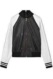 Tomas Maier Zip-embellished two-tone leather bomber jacket