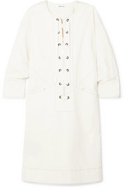 Tomas Maier Lace-up cotton-blend twill dress
