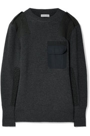 Twill-paneled merino wool sweater