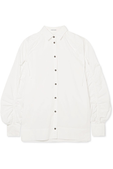 Tomas Maier GATHERED COTTON-POPLIN SHIRT