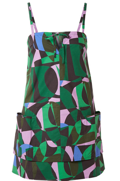 Tomas Maier - Napoli Printed Cotton-poplin Mini Dress - Green