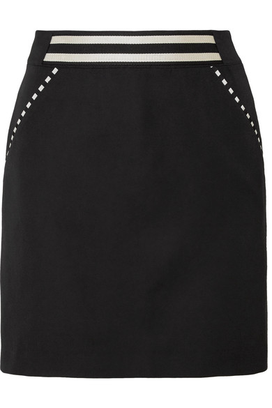 Tomas Maier STRIPED GRAIN DE POUDRE WOOL MINI SKIRT