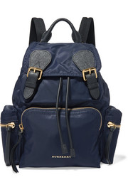 Leather-trimmed gabardine backpack
