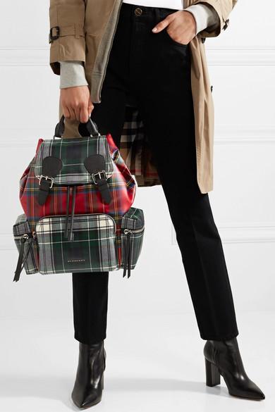 Burberry Rucksack aus beschichtetem Canvas mit Tartan-Muster und Lederbesätzen