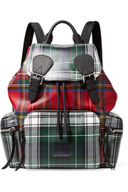 Leather-trimmed tartan coated-canvas backpack