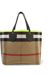 Reversible leather-trimmed checked canvas tote