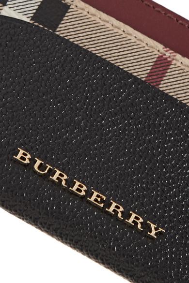 Burberry Kartenetui aus strukturiertem Leder und beschichtetem Canvas mit Karomuster