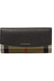 Burberry Textured-leather and checked canvas wallet