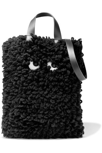 Anya Hindmarch Schultertasche aus Wolle mit Lederbesatz