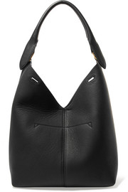 Bucket small textured-leather tote