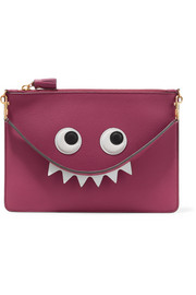 Anya Hindmarch Eyes appliquéd textured-leather pouch