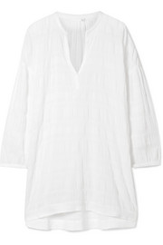 Nate crinkled cotton-blend gauze nightdress