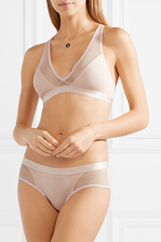 Tulle-trimmed stretch organic Pima cotton-jersey briefs