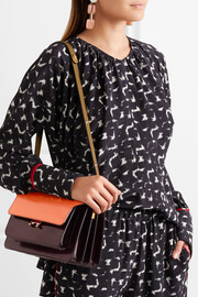 Trunk medium color-block glossed-leather shoulder bag