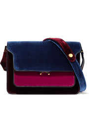 Marni Trunk medium color-block velvet and leather shoulder bag