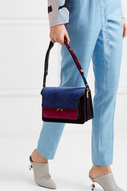 Trunk medium color-block velvet and leather shoulder bag