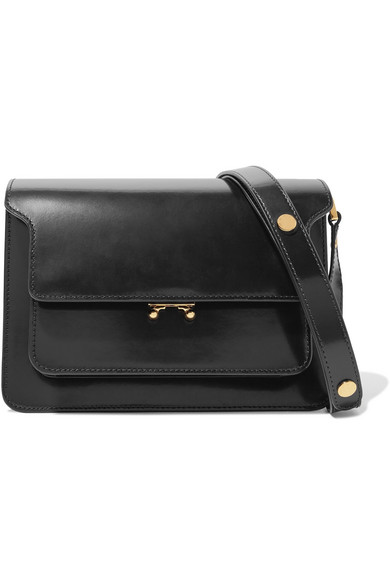 Trunk Medium Saffiano Leather Bag, Black