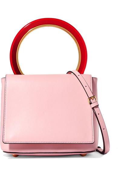 MARNI Cinder Rose Leather Pannier Bag, Pink&Purple