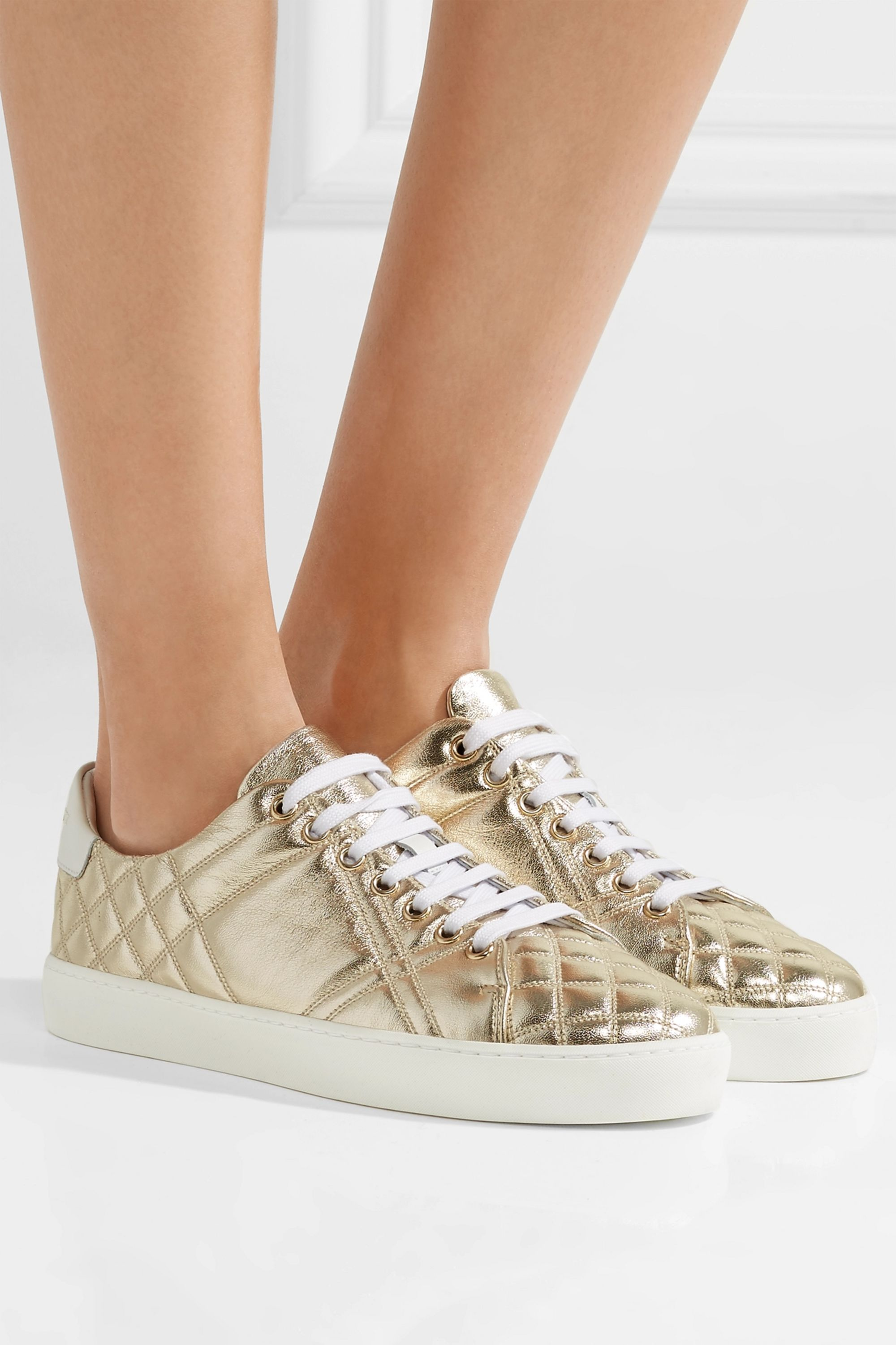 Gold Quilted metallic leather sneakers