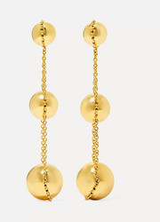 Triple Drop 18-karat gold earrings