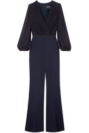Max Mara Belted silk-chiffon and cady jumpsuit