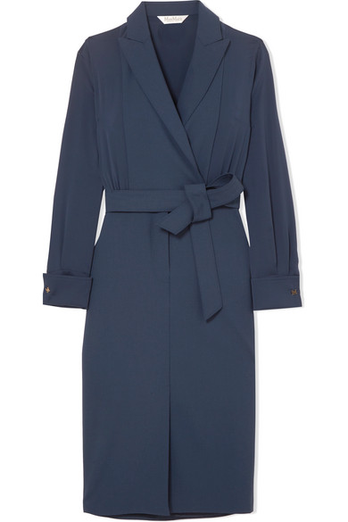 Max Mara Dress In Stretch Wool And Crêpe De Chine From Silk To Wrap Effect