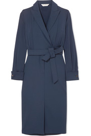 Max Mara Wrap-effect stretch-wool and silk crepe de chine dress