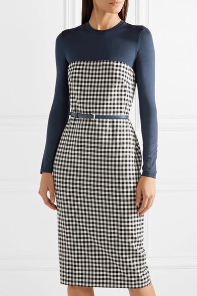 Max Mara Kleid aus Stretch-Jersey und einer Wollmischung mit Gingham-Karo