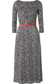 Max Mara Belted polka-dot silk and stretch-jersey midi dress