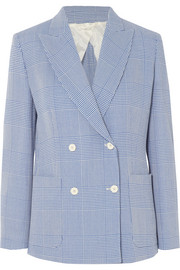Max Mara Double-breasted Prince of Wales checked wool blazer