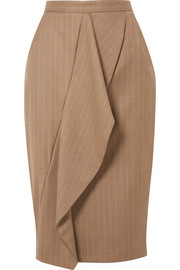 Max Mara Draped pinstriped wool-blend pencil skirt