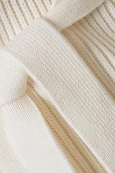 Max Mara Cardigan aus einer gerippten Baumwollmischung mit Kapuze