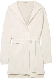 Max Mara Hooded ribbed cotton-blend cardigan