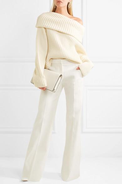 Max Mara Twill-Hose mit weitem Bein aus Stretch-Baumwolle