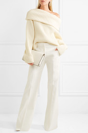 Stretch-cotton twill wide-leg pants