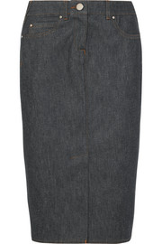 Stretch-denim midi skirt