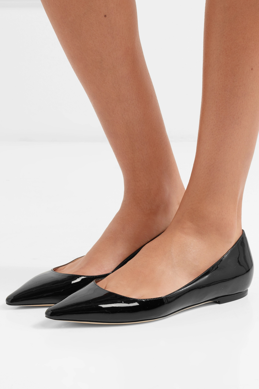 Black Romy patent-leather point-toe