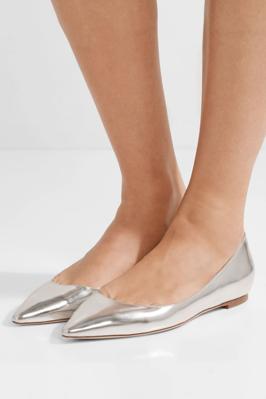 Jimmy Choo Romy metallic leather point-toe flats