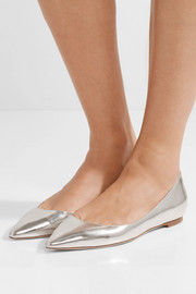 Romy metallic leather point-toe flats