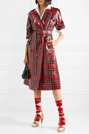 Coated-tartan wool trench coat