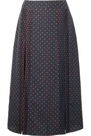 Pintucked polka-dot silk midi skirt