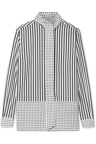 Burberry - Pussy-bow Printed Cotton-poplin Blouse - Black