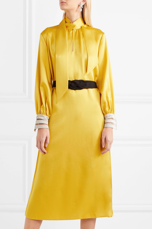 Fendi Belted crepe de chine midi dress