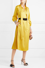 Belted crepe de chine midi dress