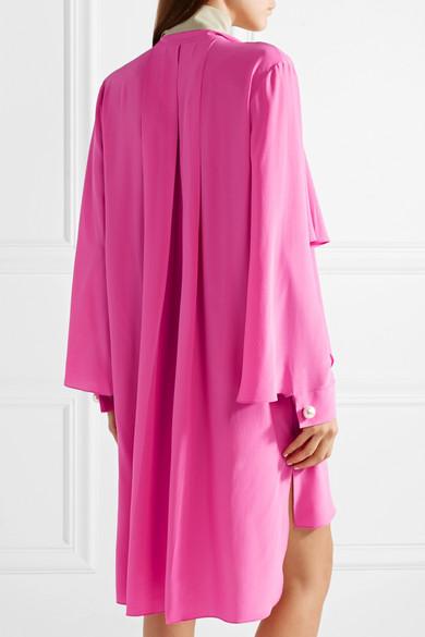 Fendi Seidenkleid aus Crêpe de Chine mit Kunstperlenverzierung in Oversized-Passform