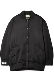 Fendi Faux-pearl embellished embroidered satin-crepe bomber jacket
