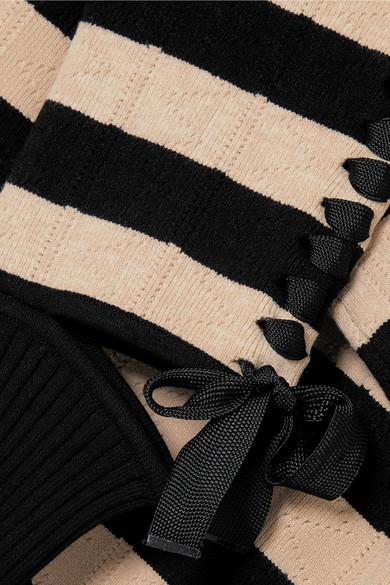 Fendi Gestreifter Pullover aus Pointelle-Strick mit Schnürung