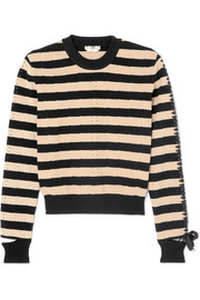 Fendi Lace-up striped pointelle-knit sweater